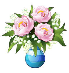 bouquet flowers lilies valley and vector image