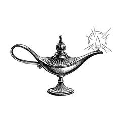 Burning oil lamp vector