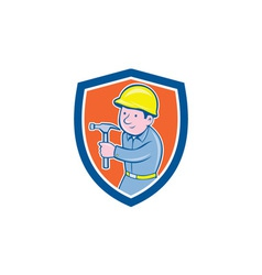 Carpenter Builder Hammer Shield Cartoon vector image