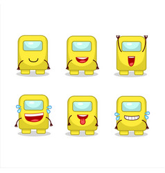 Cartoon character among us yellow with smile vector