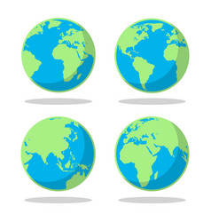 Cartoon flat earth planet set vector