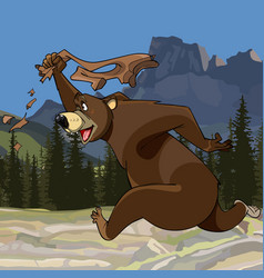 Cartoon funny bear runs with pants in hand vector