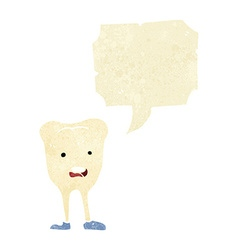 Cartoon happy tooth with speech bubble vector