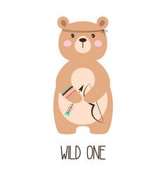 Cartoon tribal bear isolated on white background vector