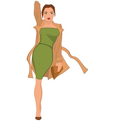 Cartoon young woman in green dress and brown coat vector image