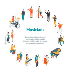 Characters different musicians people banner card vector