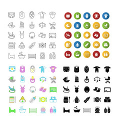 Childcare icons set vector