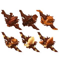chocolate bar nuts caramel cocoa bean vector image