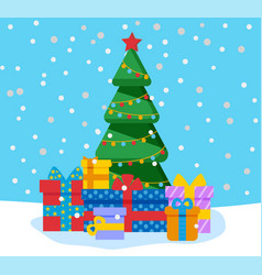 christmas and winter holidays pine with gifts vector image