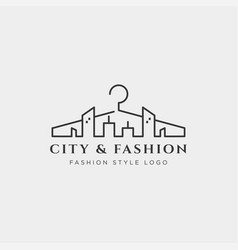 City and fashion simple line logo template vector