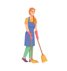 cleaning service cleaner staff with broom vector image