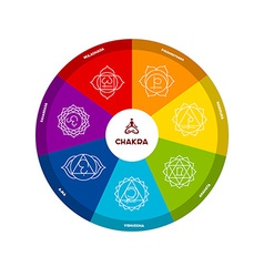 Color chakra scheme on white background vector