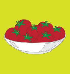 color image of a plate with tomatoes vector image