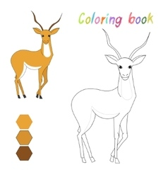 Coloring book gazelle kids layout for game vector