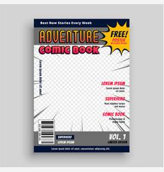 Comic book magazine cover design template vector