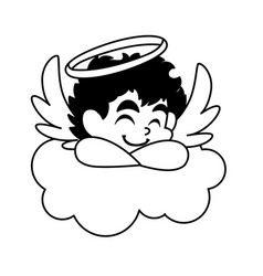 Cupid angel sleeping on a cloud on white vector