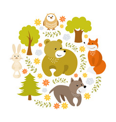 Cute cartoon forest animals vector
