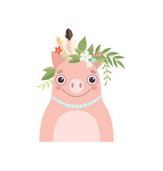 Cute piglet animal wearing headdress with feathers vector