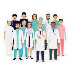 doctors nurses and paramedics characters icons vector image