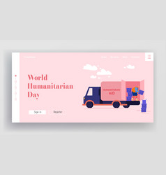 Donation to poor homeless people landing page vector