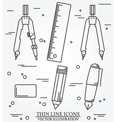 drawing tools thin line icon set for web and mobil vector image