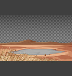 Dry land landscape on transparent background vector