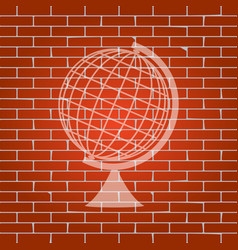 earth globe sign whitish icon on brick vector image