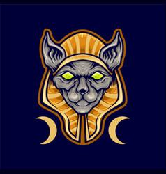 Egyptian spinx cat logo mascot vector