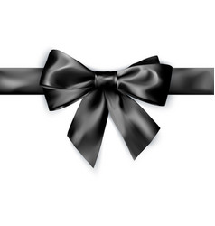 elegance black satin bow with ribbon isolated on vector image