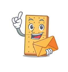 Envelope graham cookies character cartoon vector