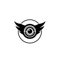 Eye and wings shaped logo vector