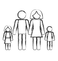 Family silhouette isolated icon vector