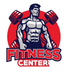 fitness center badge vector image