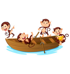 Four monkey playing on boat vector