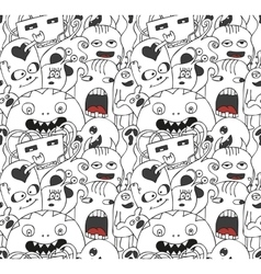 Funny monsters seamless pattern vector
