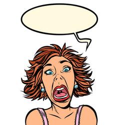 Funny woman screams strange facial expressions vector