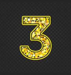 Gold glittering number 3 vector