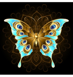 Golden butterfly with turquoise vector