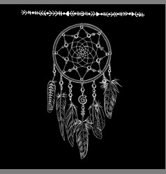 Hand drawn ornate white dreamcatchers vector