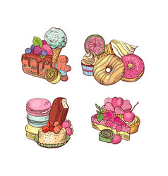 hand drawn sweets piles set vector image
