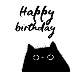 Happy birthday card with black cat vector