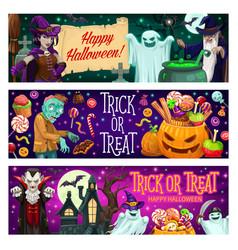 happy halloween party cartoon banners set vector image