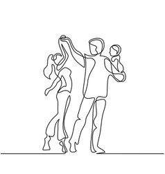 Happy loving couple dancing with baby in hands vector