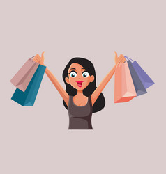 Happy woman holding shopping bags cartoon vector
