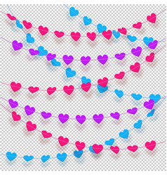 Hearts on a string hanging decorations with vector