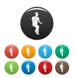 hip hop dancer icons set color vector image
