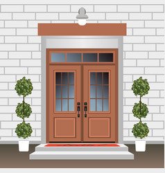 House door front with doorstep and steps lamp vector