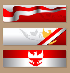 Indonesia independence day simple blank banner set vector
