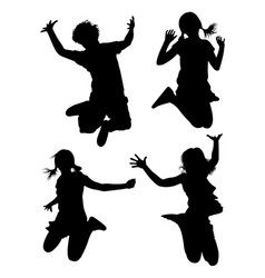 kids jumping silhouette 01 vector image