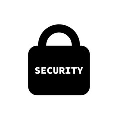 lock icon flat style lock and word security vector image